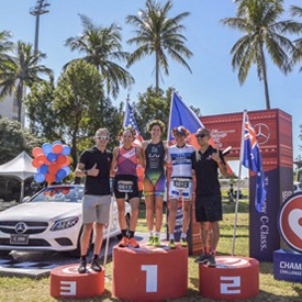Luke McKenzie wins the Challenge Asia Pacific Championship  Podium for three of the best triathlon 'Super Mums'