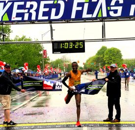 Kenyans Panuel Mkungo and Ivy Kibet win the 43rd OneAmerica 500 Festival Mini-Marathon